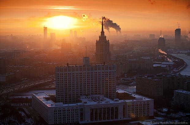 Winter cityscape at sunset