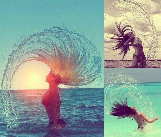 pelo agua mar