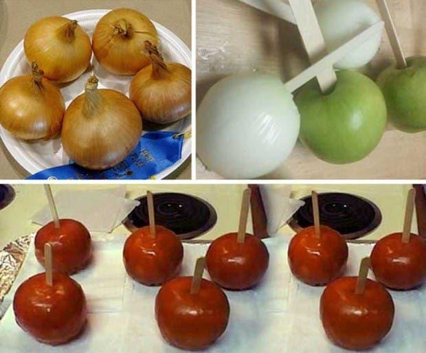 bromas cebolla manzana