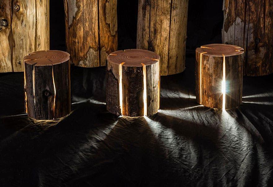 Un diseñador fabrica lámparas con troncos de árboles ¡Fabulosas y ...