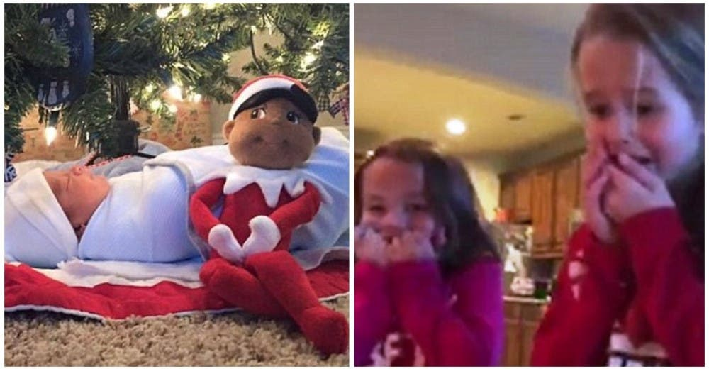 Emocionan a sus hijas con el nuevo bebé adoptado como regalo bajo el árbol de Navidad