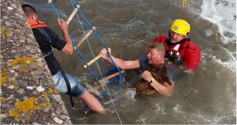 hombre salta a turbulentas aguas 5