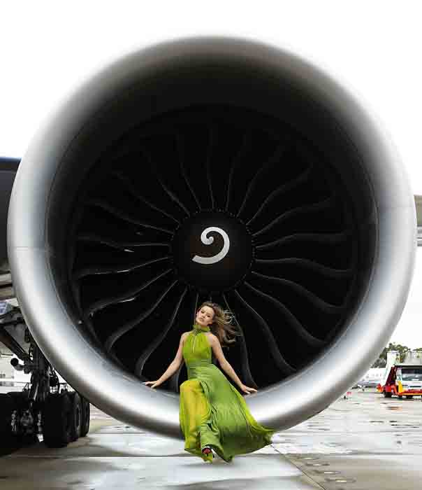 Georgia May Jagger poses inside an engine of a British Airways 777 airliner in Sydney, Australia. Celebrating a new chapter in British Airways long history of flying between Australia and the UK, British Airways launched the new Boeing 777-300ER aircraft on the route with a special on board celebration. (Brendon Thorne/Getty Images)