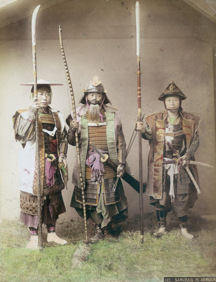 Three samurai warriors in armour, circa 1880. (Photo by Kusakabe Kimbei/Hulton Archive/Getty Images)