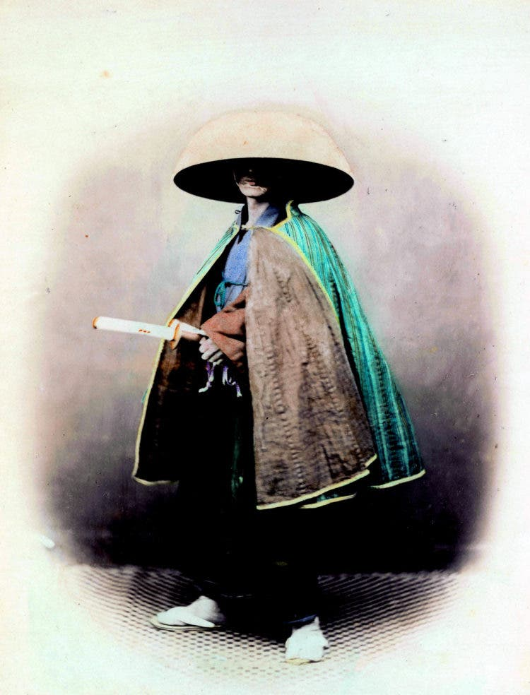 Felice Beato; portrait of a Japanese samurai, in traditional dress. 1863-68. (Photo by Universal History Archive/UIG via Getty Images)