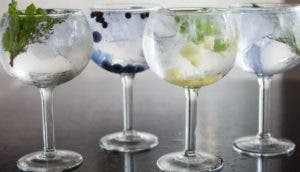 Spanish style Gin and Tonic with Bluecote + mint + thyme + fever tree at Sable Kitchen & Bar.