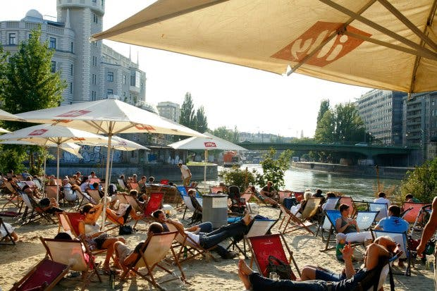 AMAD2R Aug 2008 - People at the beach bar Herrmann by the danube riverside Vienna Austria. Image shot 08/2008. Exact date unknown.