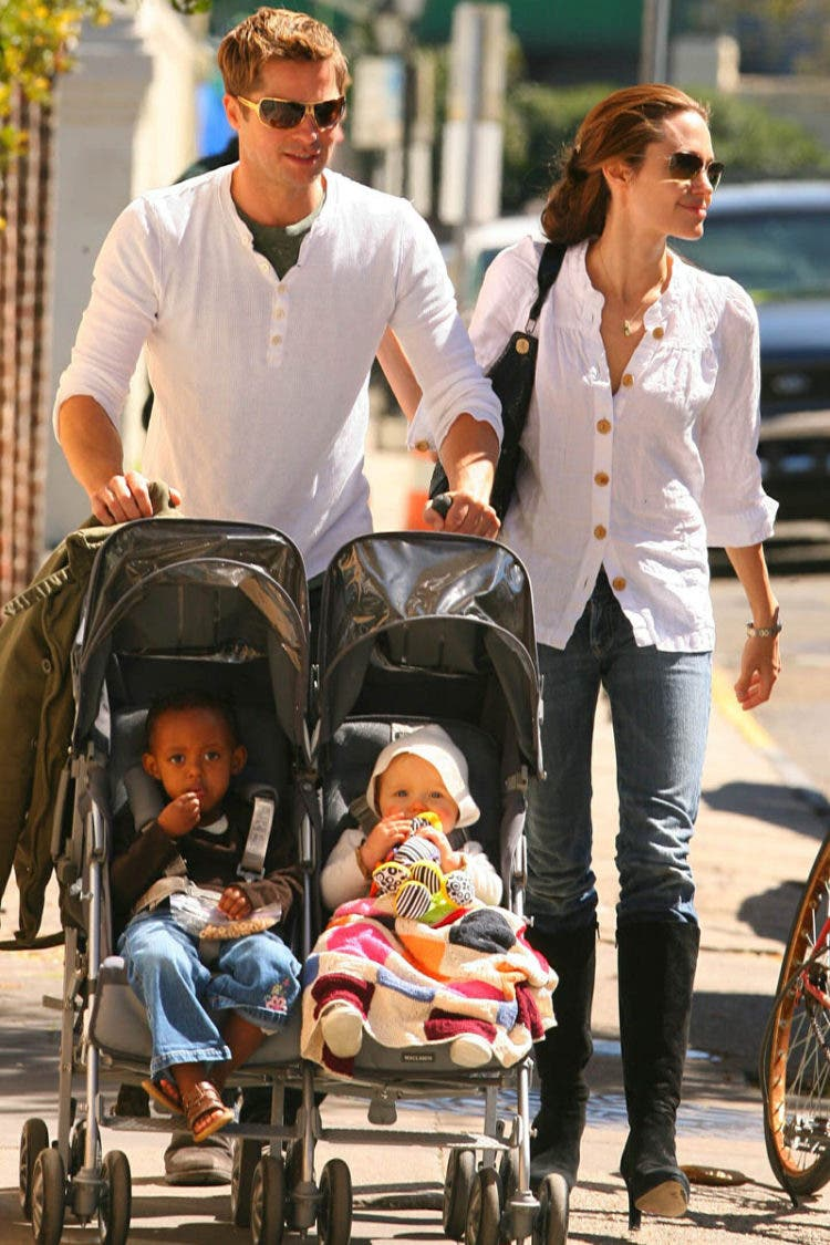 Angelina Jolie and Brad Pitt with daughters Shiloh and Zahara in New Orleans.