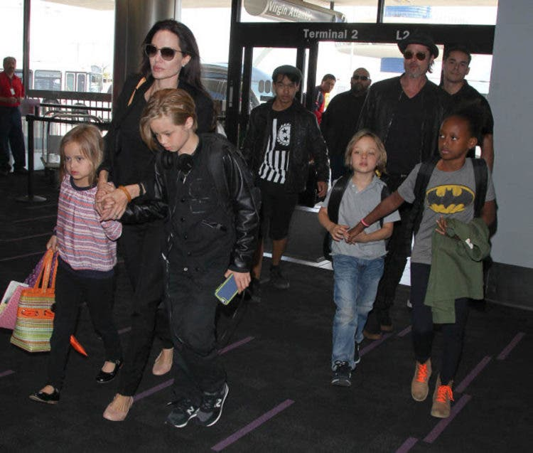 Actors Brad Pitt and Angelina Jolie with their kids Maddox, Zahara, Shiloh, Vivienne and Knox Jolie Pitt in Los Angeles, California on June 6, 2015.