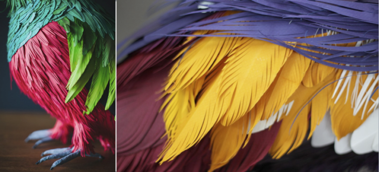 esculturas-papel-plumas