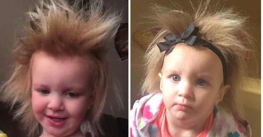 Intentan de mil maneras controlar el cabello de su hija pero no hay solución