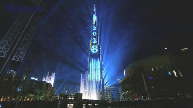 dubai laser show año nuevo 2018 light up record guinness burj khalifa