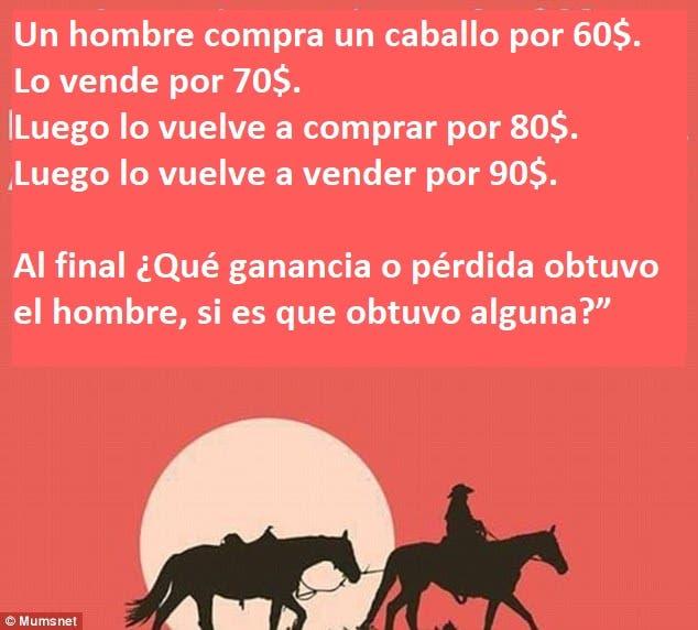 acertijo sobre un hombre y un caballo tiene al internet confundido y buscando respuestas facebook matematicas dificil hard mathematics riddle confused people horse earnings