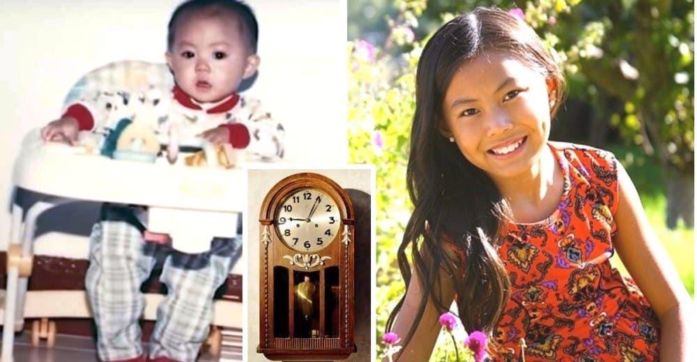 Adoptan a una niña que los deja desconcertados cuando escucha el sonido del reloj
