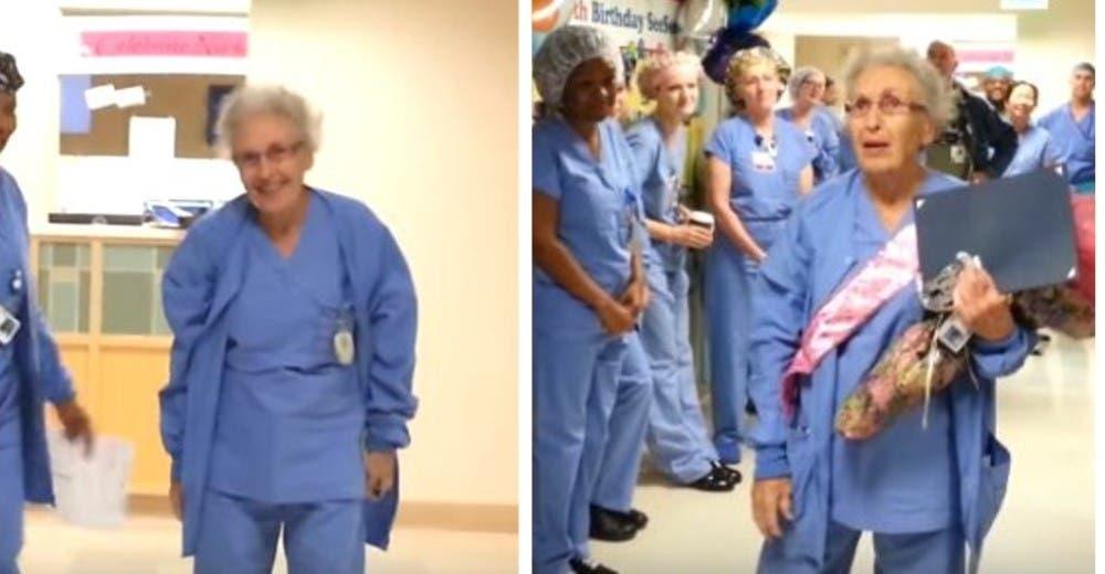 A los 91 años sigue trabajando como enfermera en el hospital conmocionando a todos
