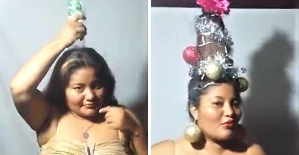 El tutorial del insólito peinado navideño que está causando sensación en las redes