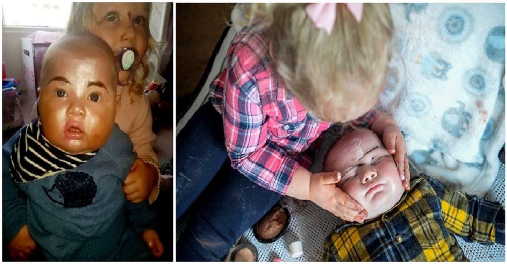 Una niña de 3 años maquilla a su hermanito para hacer que se pareciera a su madre