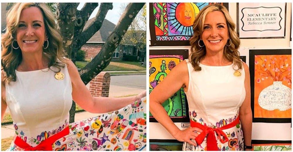 Convierte su vestido en un lienzo para los 580 alumnos de su clase de arte