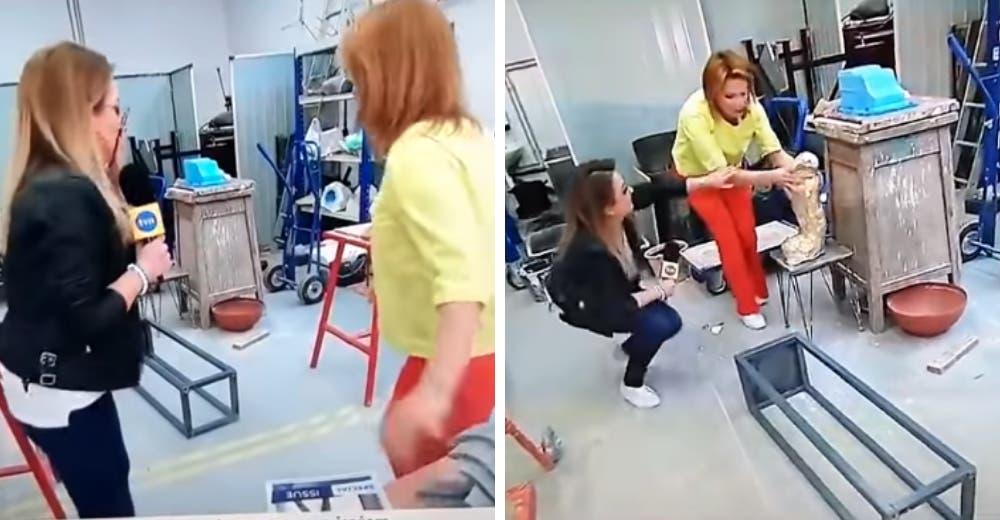 El incómodo momento en el que una reportera destruye una valiosa obra de arte en vivo