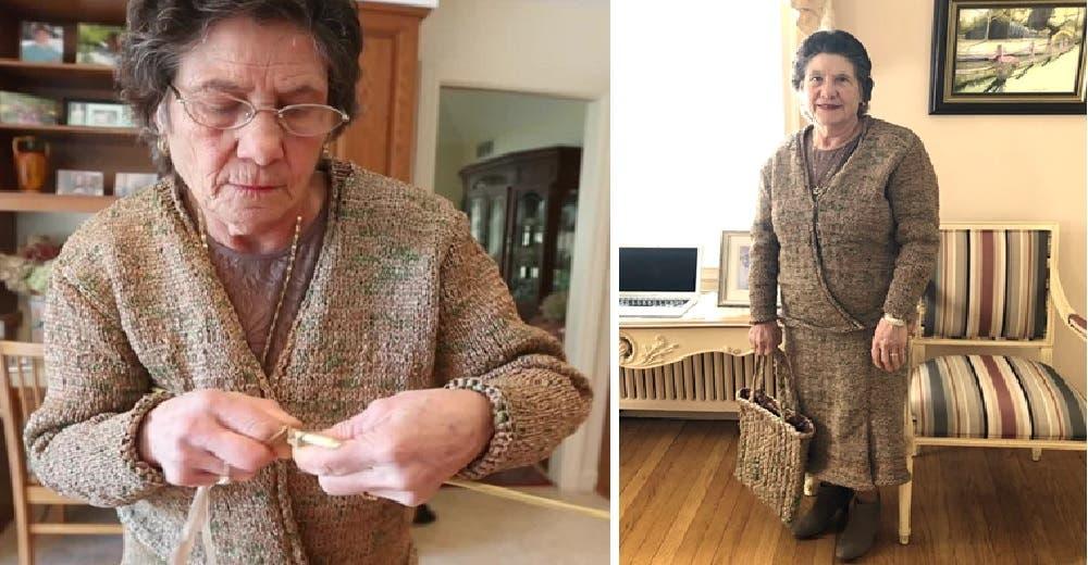 Confecciona un elegante conjunto usando 100 bolsas de mercado -«Cuando era niña hacía mi ropa»