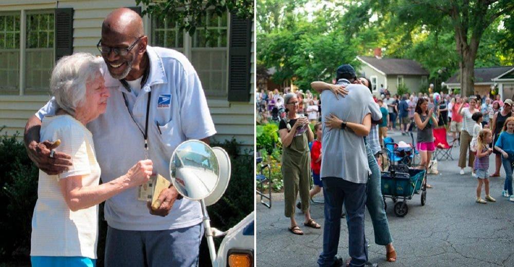 Más de 300 vecinos hacen llorar al cartero que trabajó 34 años en su comunidad