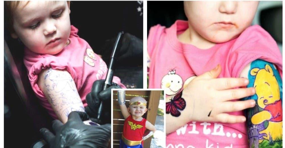 Los padres de una niña de 3 que lucha contra el cáncer deciden tatuar sus brazos