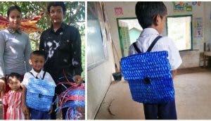 Teje una mochila escolar con sus propias manos para su humilde hijo de 5 años