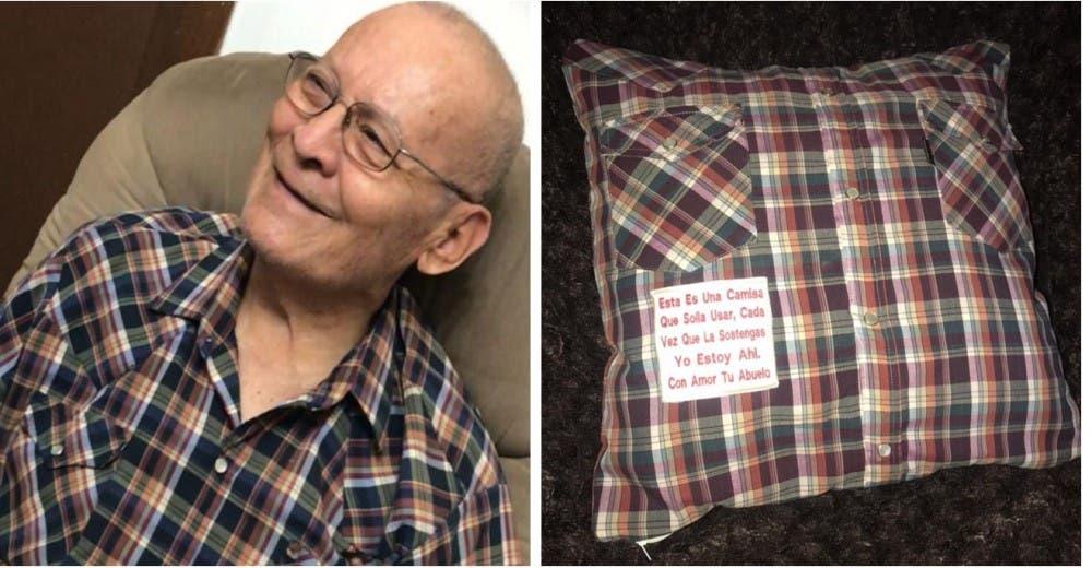 Les regala a sus nietos un cojín hecho con las camisas de su esposo fallecido
