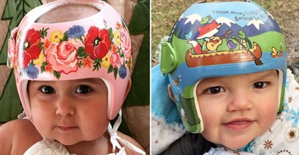 Abuela artista ayuda a bebés de rara condición que usan «casco» a atraer sonrisas y no miradas
