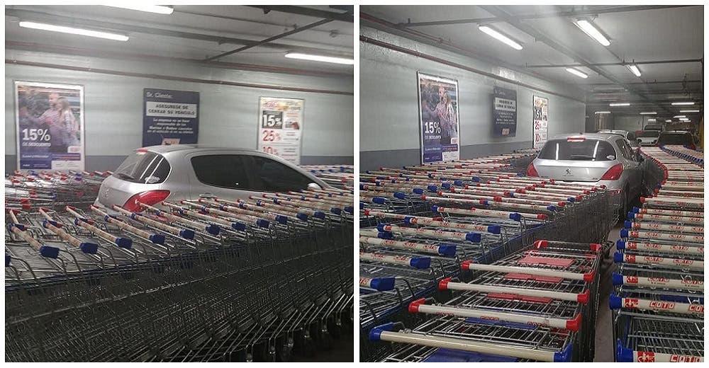 La lección de los empleados de un supermercado a un conductor que aparcó en un sitio indebido