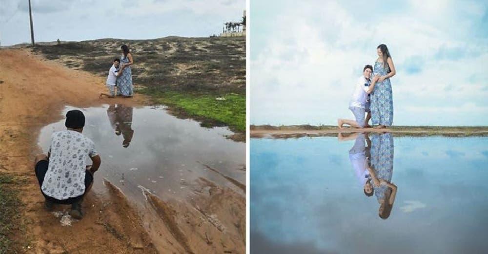 Hace sesiones de fotos en los lugares que cualquiera descartaría demostrando su gran talento