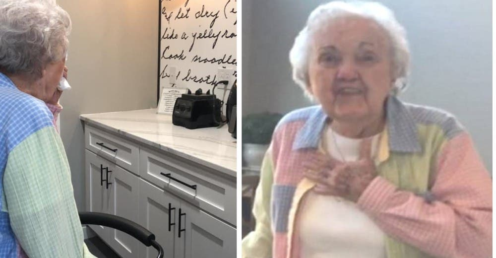 Una abuelita se emociona al ver cómo su nieta transformó su cocina para rendirle un homenaje