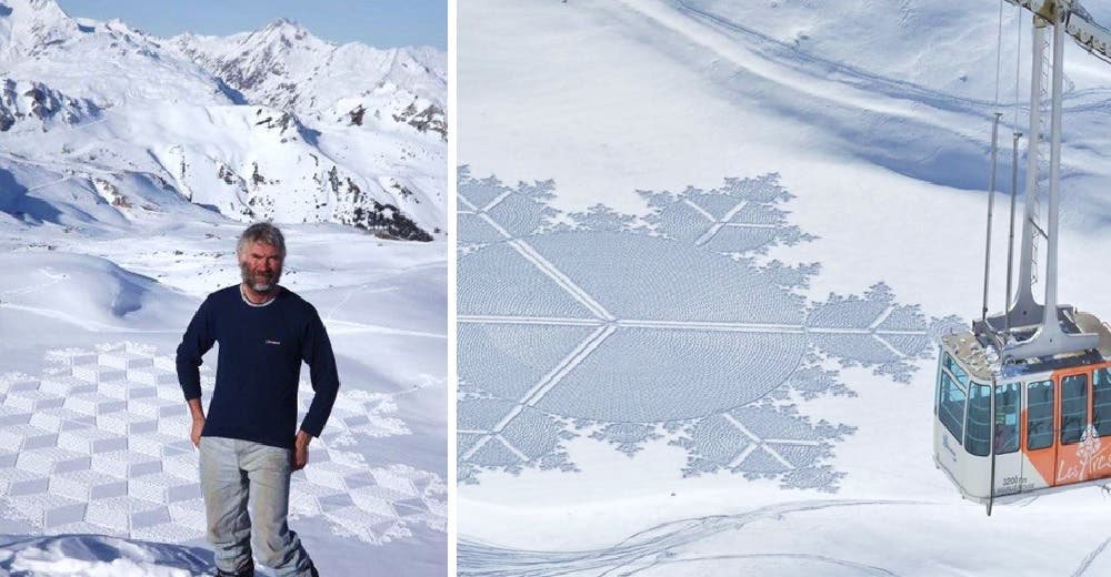 Camina durante 12 horas en la nieve creando impactantes imágenes que desaparecen por el viento
