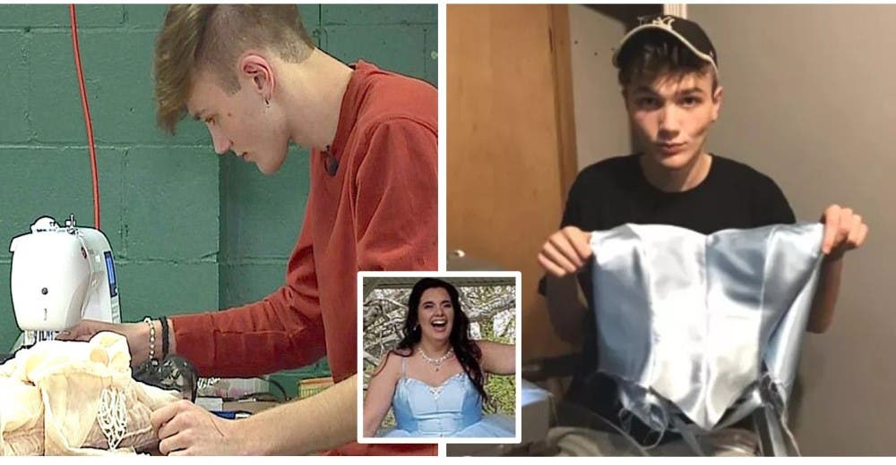 Aprende a coser para que su mejor amiga pudiera tener un vestido de graduación y se hace viral