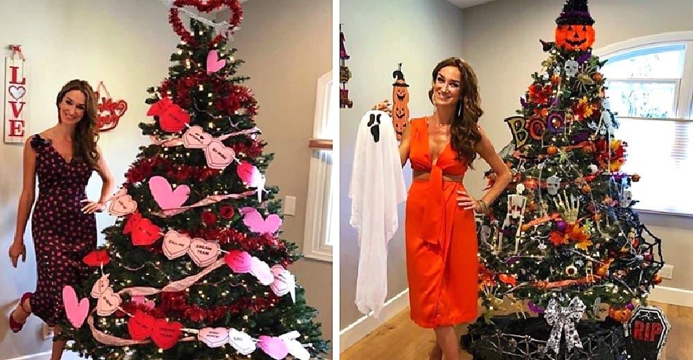 Se niega a guardar su árbol de Navidad y lo que hace para decorarlo cada mes sorprende las redes