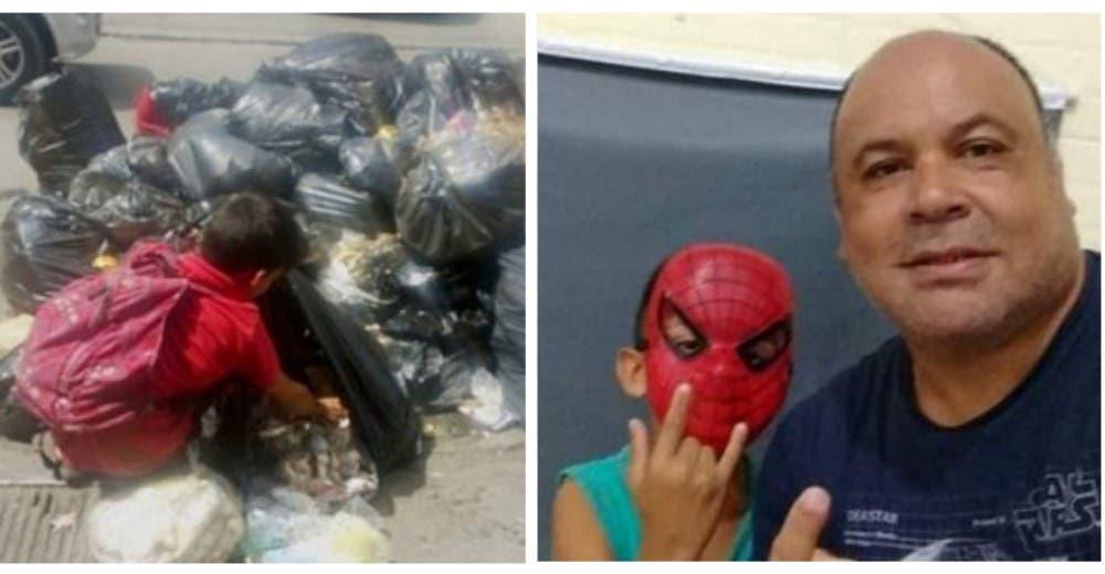 Tras varios intentos logra acercarse al niño de 8 años que veía buscando comida en la basura