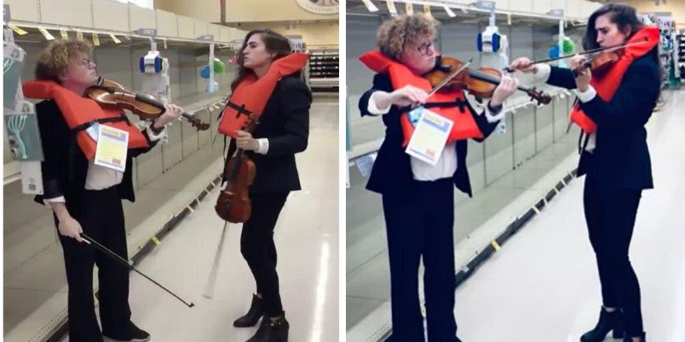 Graban a 2 trabajadoras de un supermercado recreando una escena del Titanic ante la crisis
