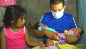 Se queda solo con sus 3 bebés recién nacidas y acude a las redes para pedir ayuda