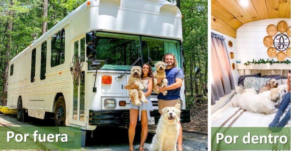 Convierten un autobús escolar en la casa de sus sueños para disfrutar la vida con sus 3 perros
