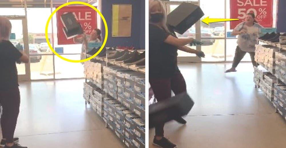 La clienta que se negó a usar mascarilla en la tienda huye tras lanzar cajas contra su rostro