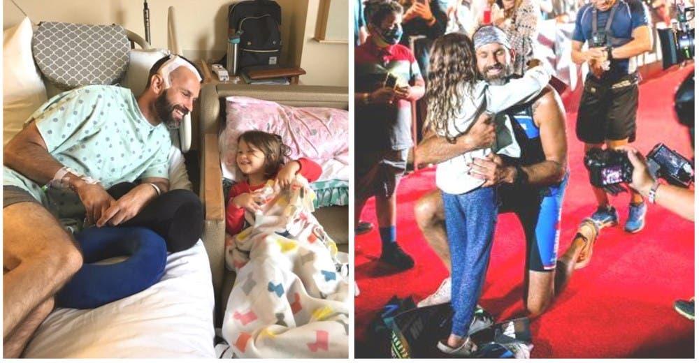 Hace un triatlón con cáncer terminal para enseñarle a su hija de 5 años a mantener la esperanza