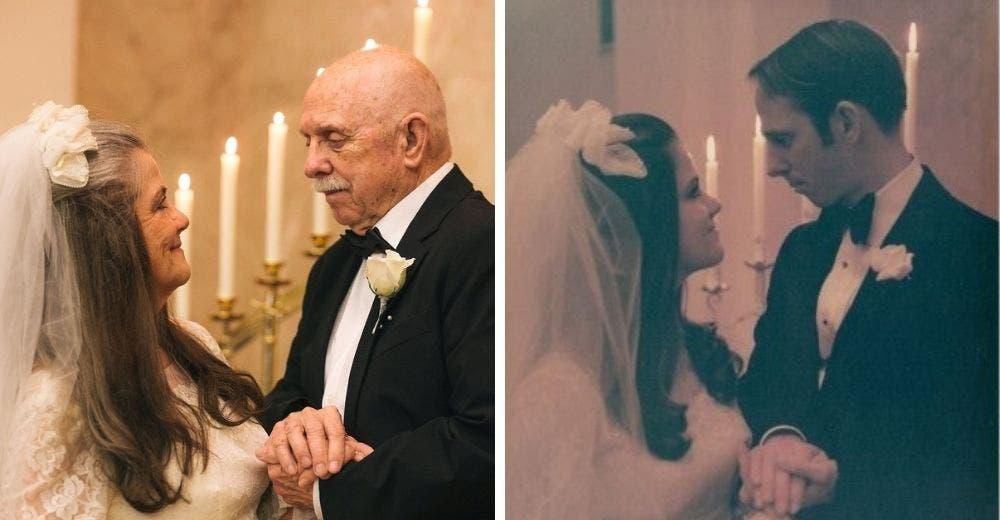 Sobrevive al cáncer y celebra su boda 50 años después de casarse por primera vez