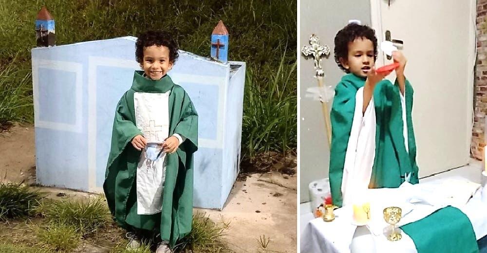 El niño al que no le daban esperanzas de vida emociona al mundo celebrando sus misas