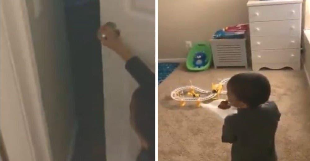 Graba a su hijo de 5 años entrando a su habitación porque sabía que terminaría llorando