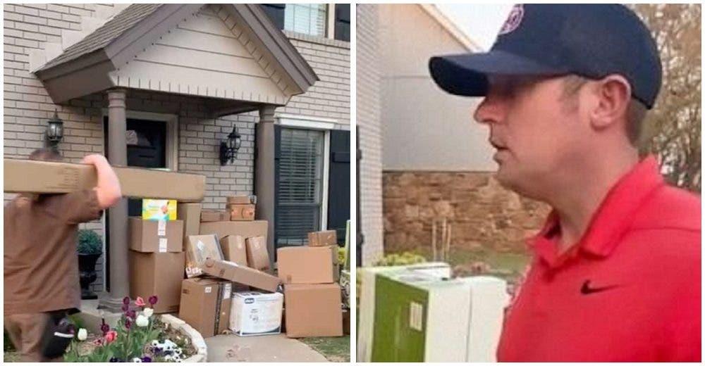 Se alarma cuando llega a casa y ve decenas de cajas afuera mientras su esposa graba escondida