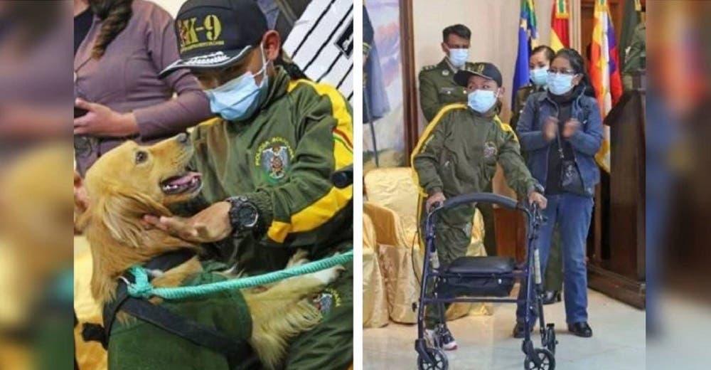 Un niño con discapacidad se convierte en adiestrador honorífico de perros de la policía