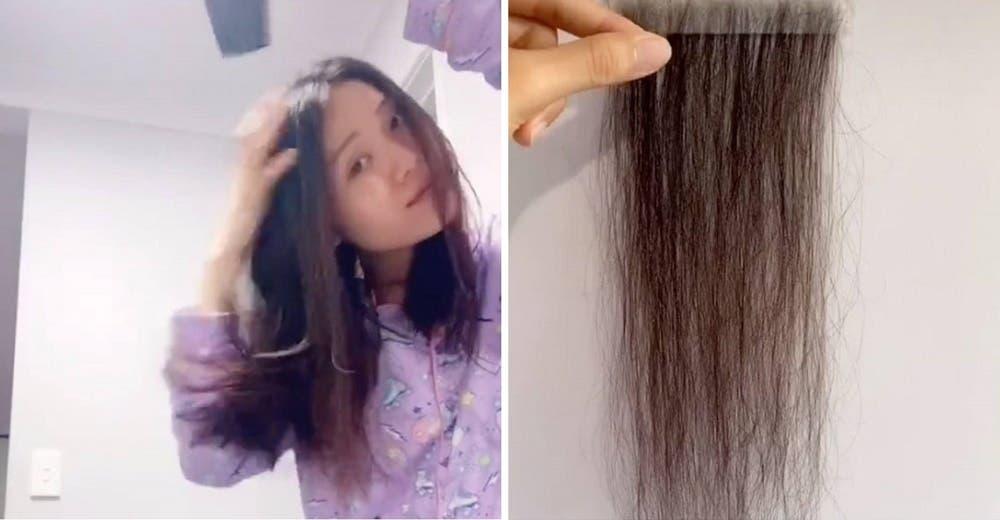 Recoge cada cabello que encuentra y lo conserva cuidadosamente para recuperarlo