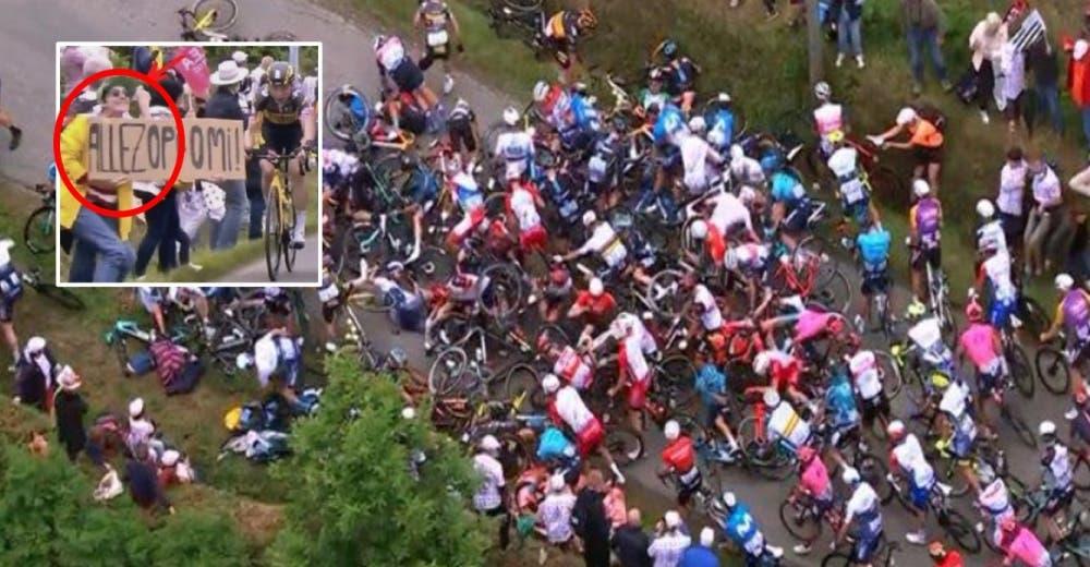 Buscan a la mujer que causó el accidente a decenas de ciclistas en el Tour de Francia