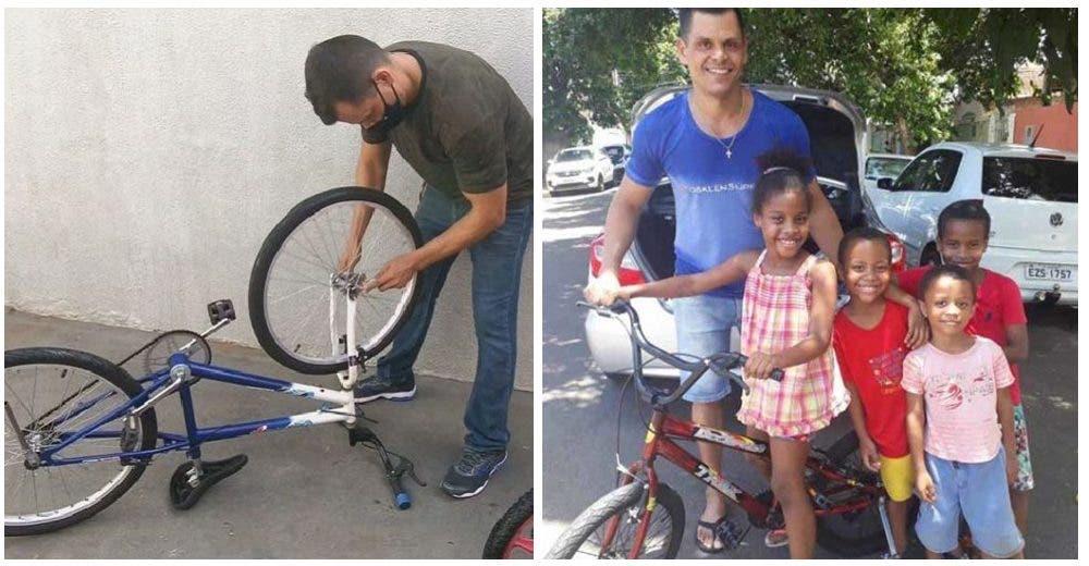 Dona bicicletas a los niños más pobres porque él recibió una y le cambió la vida