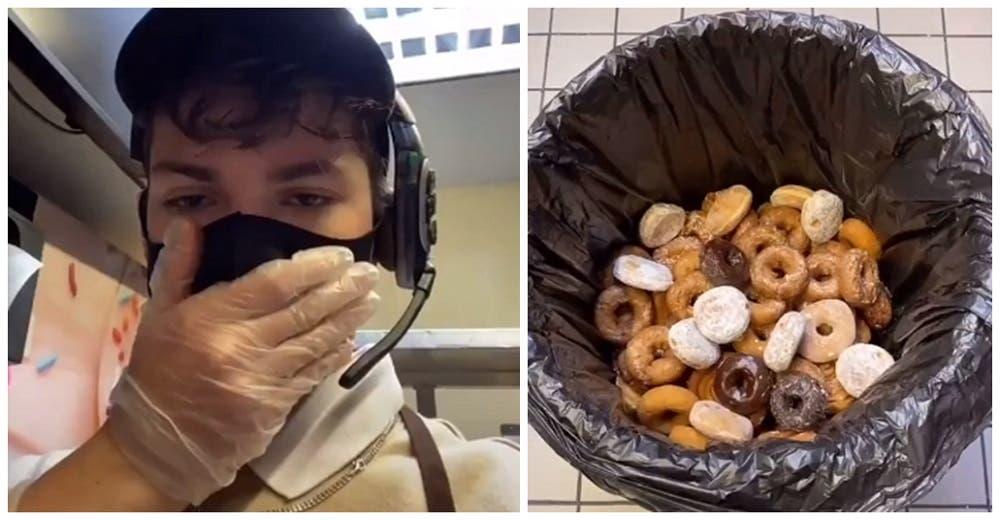 Indignado, recoge 300 donas de la basura, se las regala a personas sin hogar y lo despiden